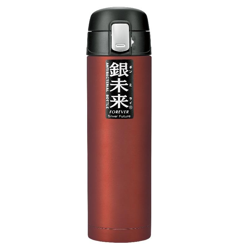 银未来抗菌不锈钢真空水瓶 单次触摸式500ml 红色