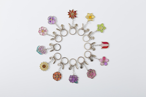 12个花卉的钥匙圈