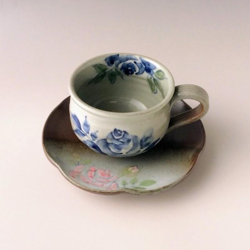 末家烧窑炉 HIROGAMA 玫瑰花纹咖啡杯碟 茶色