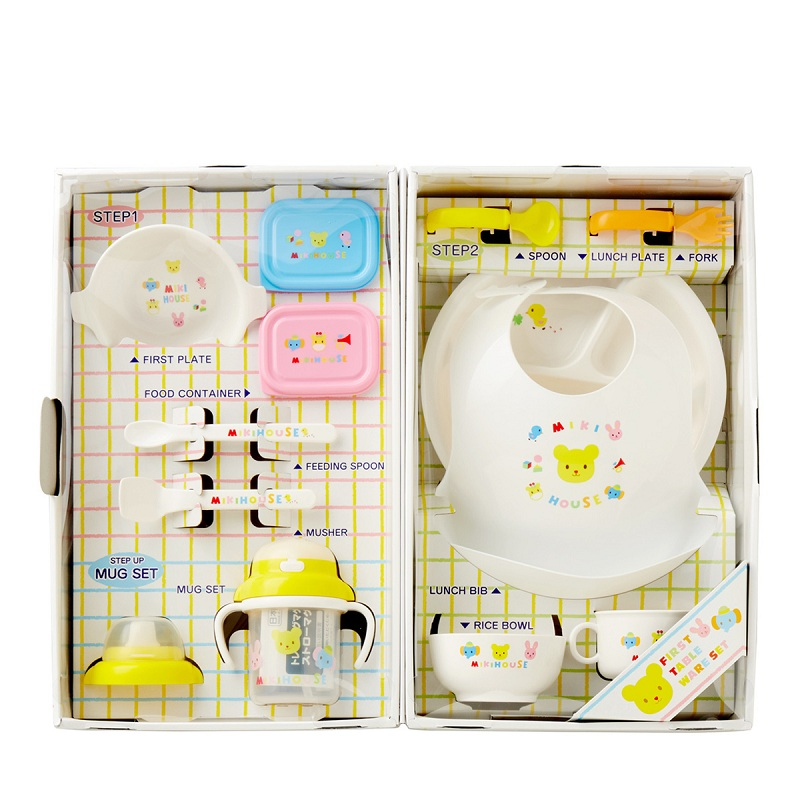 MIKIHOUSE日本制婴儿辅食餐具研磨组合礼盒套装