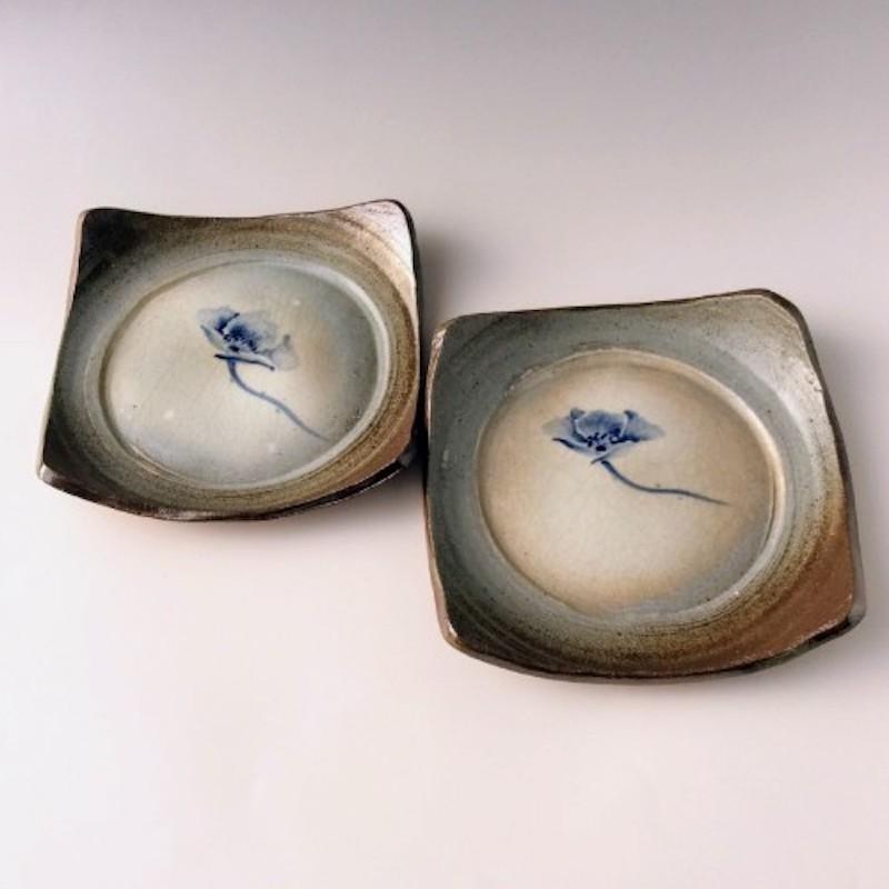 末家烧窑炉 HIROGAMA 罂粟花纹精美陶瓷盘套装 蓝色