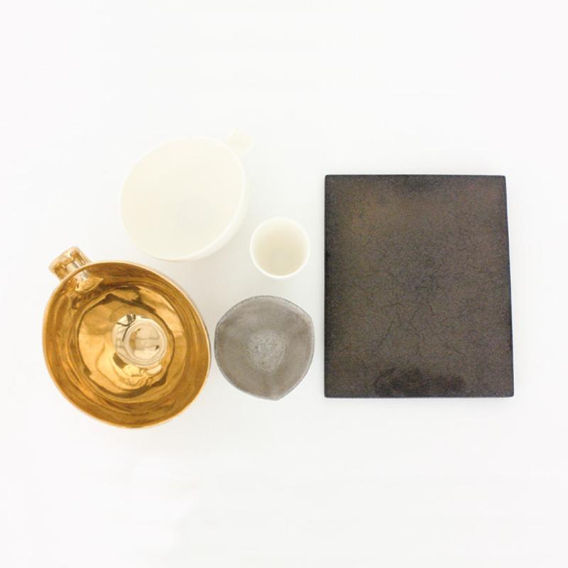 黑陶金瓷板盘