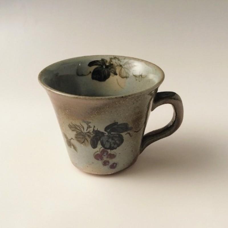 末家烧窑炉 HIROGAMA 葡萄纹咖啡杯碟 灰色