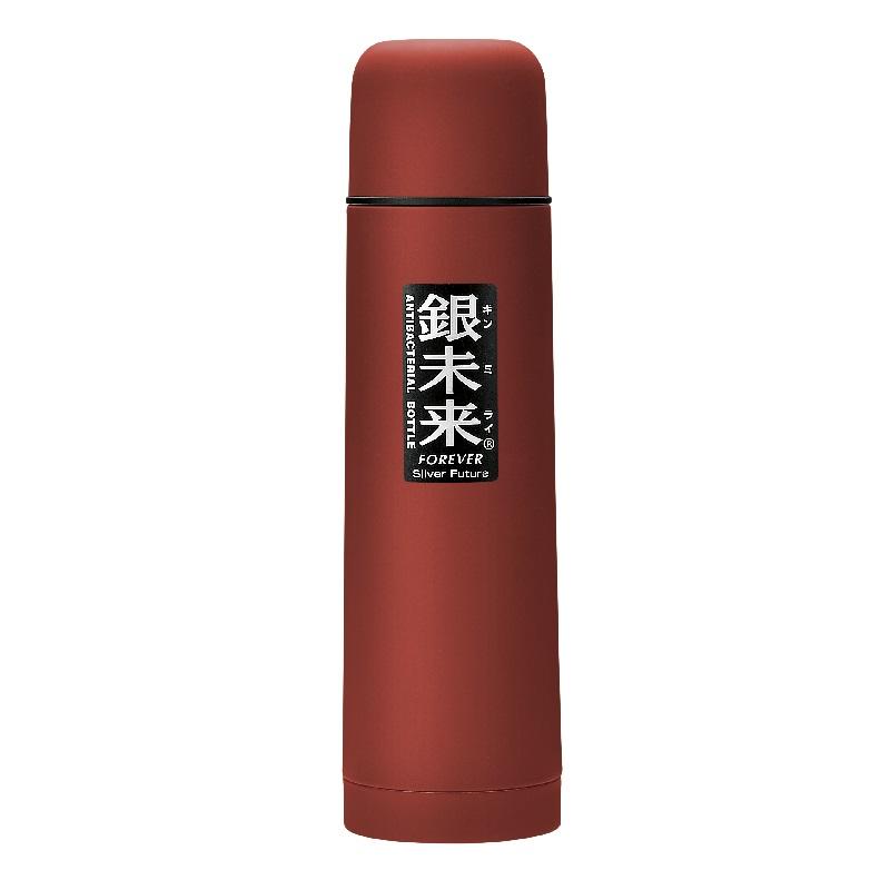 银未来抗菌不锈钢真空水瓶 单次按压式500ml 红色