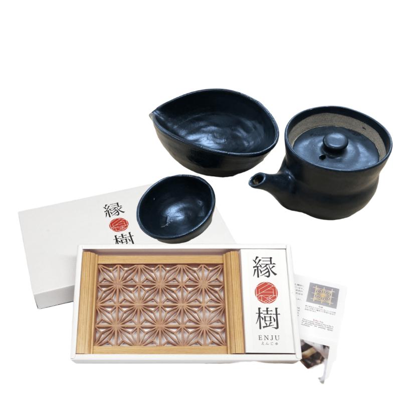 日本陶瓷 三助烧茶具+縁樹茶托套装