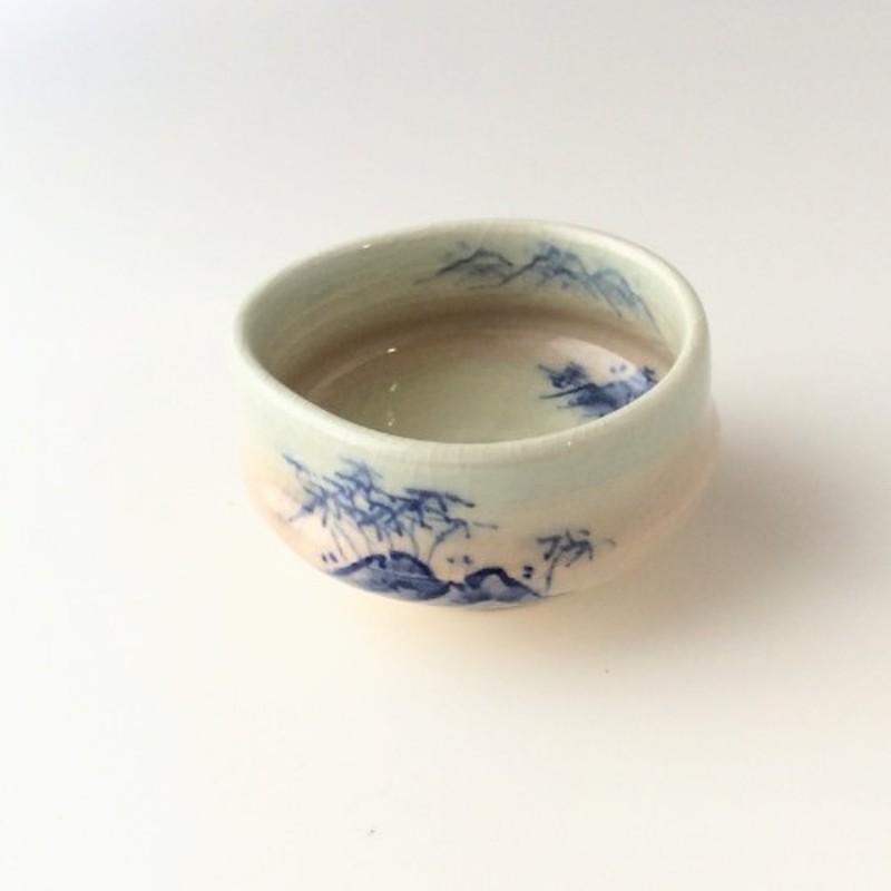 末家烧窑炉 HIROGAMA 红牛茶盅 白色