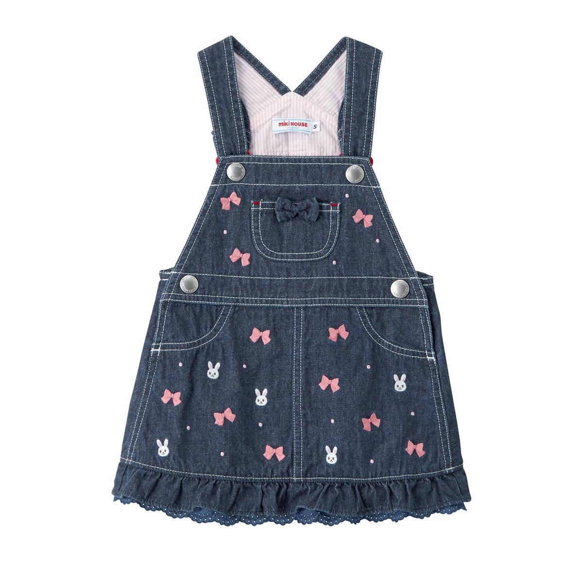 日本制MIKIHOUSE时尚迷你小兔子蝴蝶结刺绣背带裙 S码