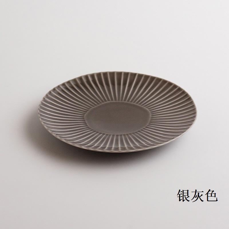 波佐见烧  镐 盘子(中)银灰色