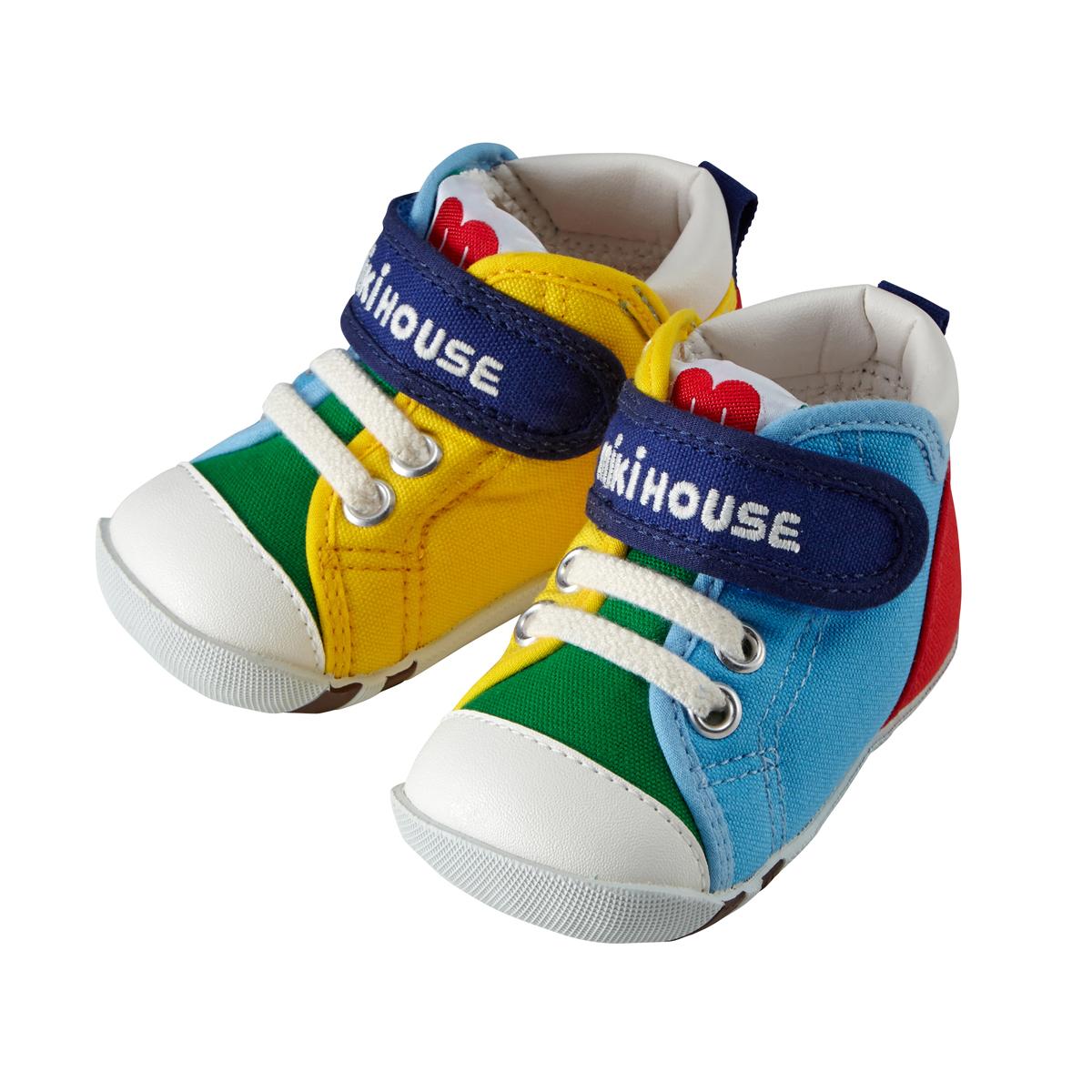 日本制MIKIHOUSE经典彩虹拼色款 一段学步鞋(3色)<br/>