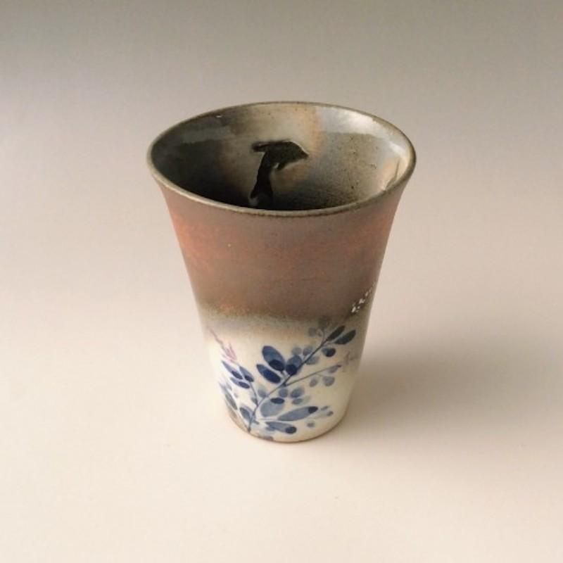末家烧窑炉 HIROGAMA 萩烧海豚花纹  茶杯 茶色