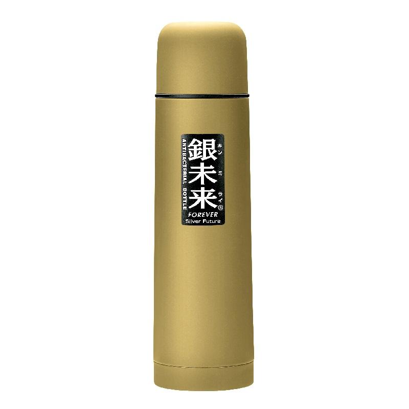 银未来抗菌不锈钢真空水瓶 单次按压式500ml  黄金色
