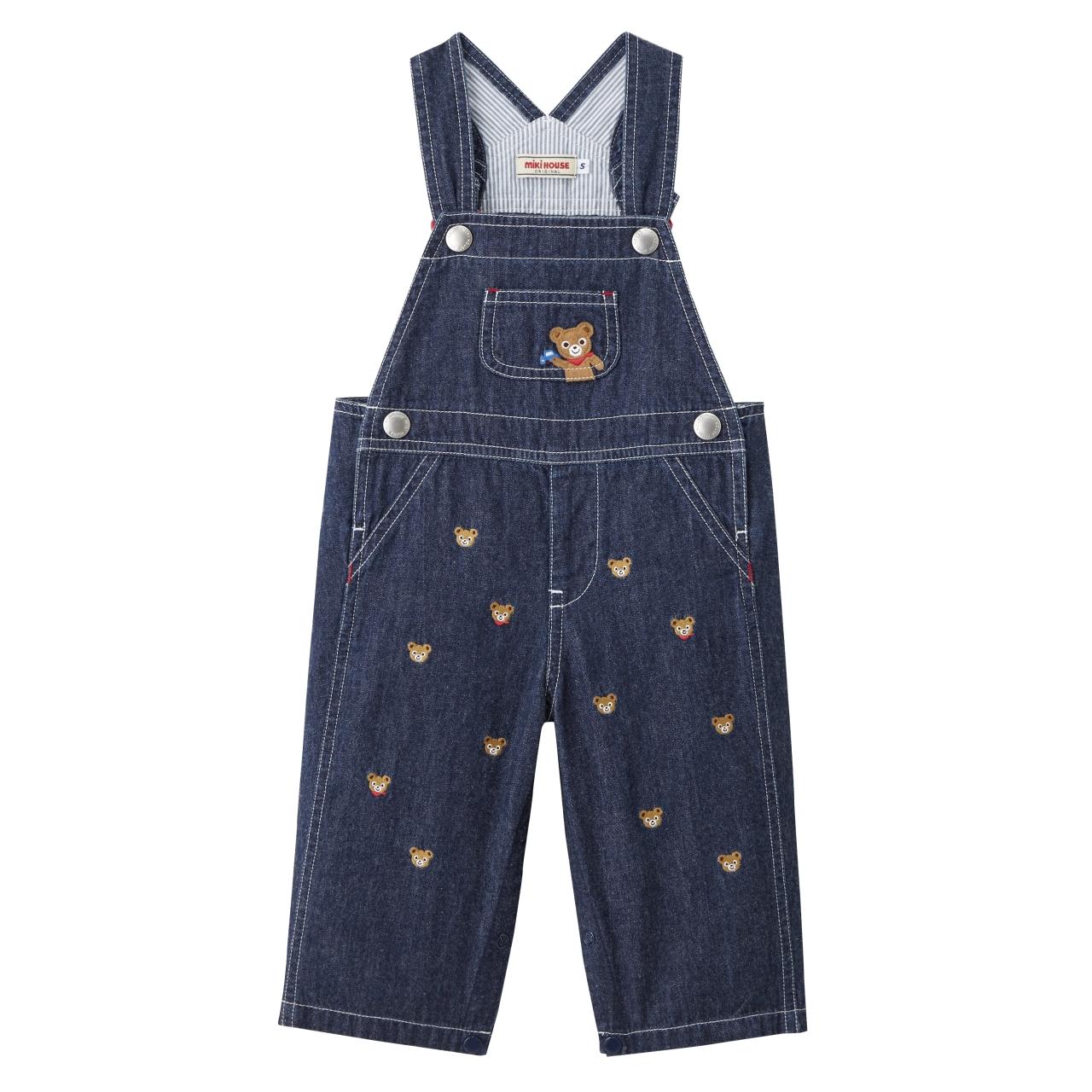 日本制MIKIHOUSE小熊牛仔刺绣开裆背带裤 S码