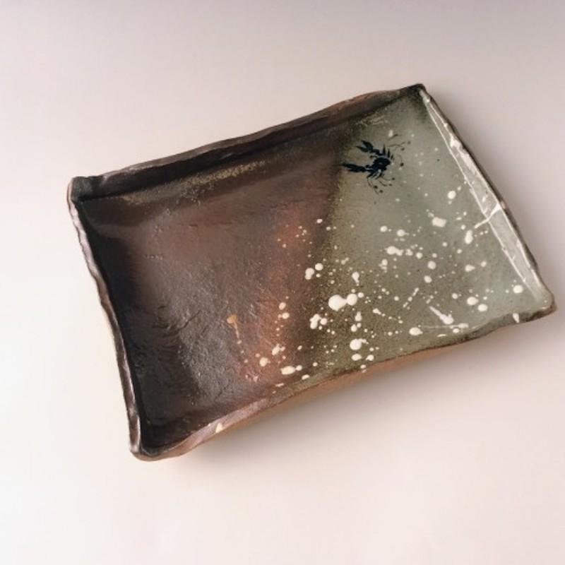 末家烧窑炉 HIROGAMA 螃蟹图纹方形餐盘 茶色