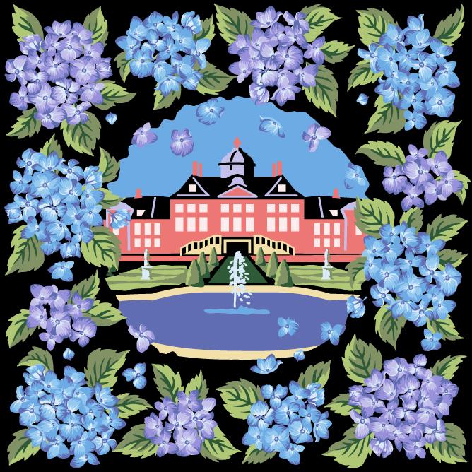 豪斯登堡 绒织手帕 紫阳花